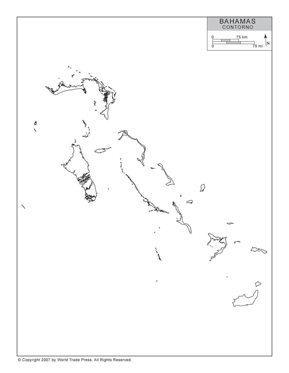Mapa das Bahamas com Contorno