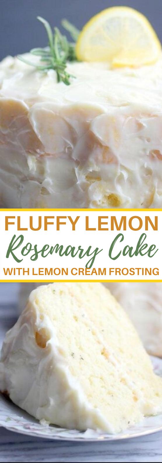 Fluffy Lemon Rosemary Cake with Lemon Cream Cheese Frosting #cake #recipes #baking #pastry #desserts