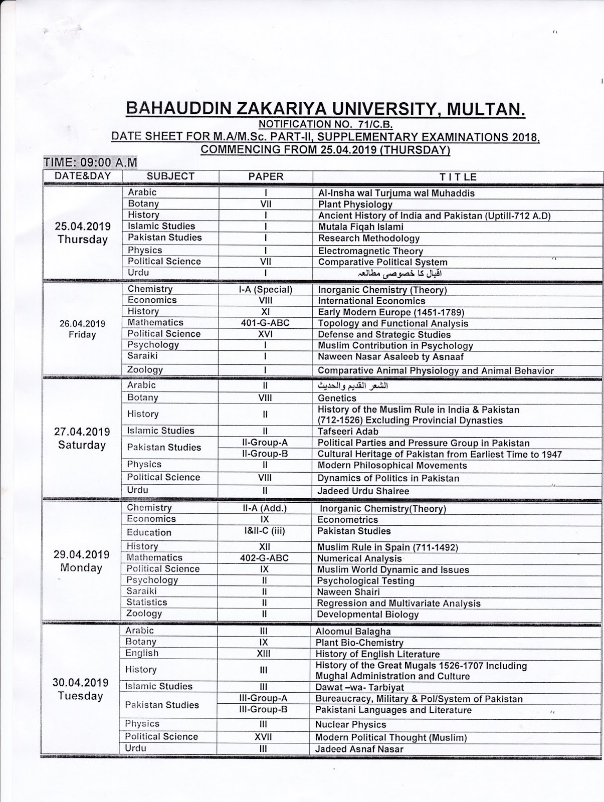BZU MULTAN MA/MSC (PART II ) DATE SHEET SUPPLEMENTARY EXAMS