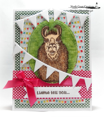 North Coast Creations Stamp Set: Llama Tell You, ODBD Custom Dies: Ovals, Pennant Flags, Pierced Rectangles, Pennant Row, ODBD Paper Collections: Birthday Bash, Boho Bolds