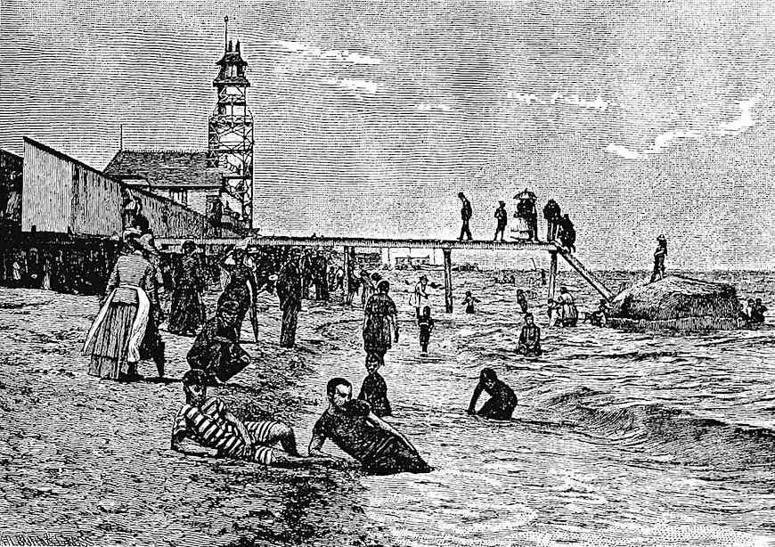 an 1889 beach with air-bathing sun-bathing and water-bathing, illustration