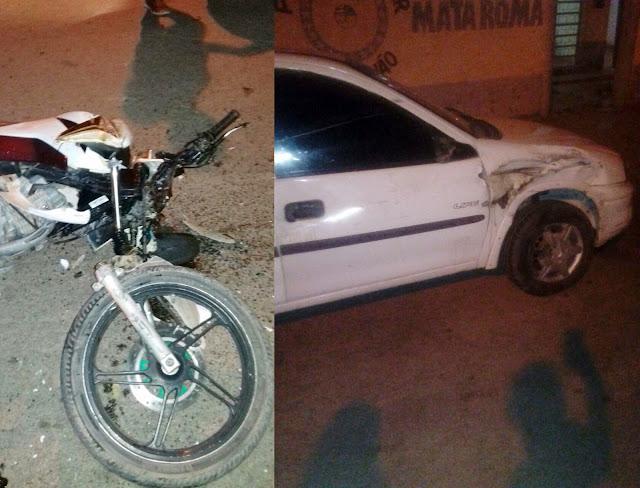 Colisão entre carro e moto deixa uma pessoa ferida em Mata Roma