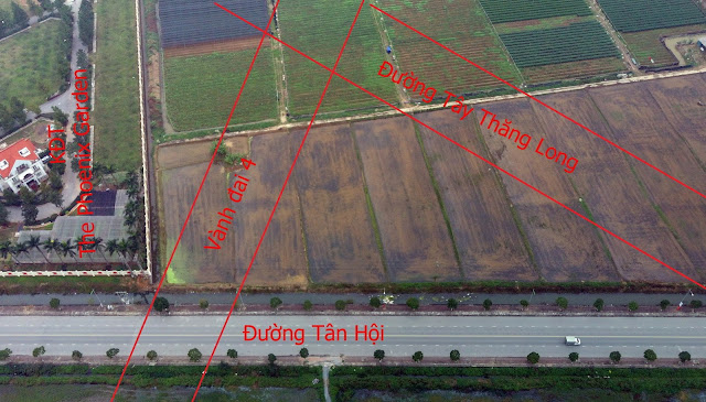 KĐT The Phoenix Garden nằm ngay nút giao giữa đường Vành đai 4 và Tây Thăng Long theo qui hoạch. (Sơ đồ mang tính tương đối theo qui hoạch).