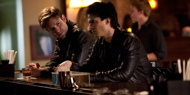 Damon And Alaric's Ghost At Ric's Grave