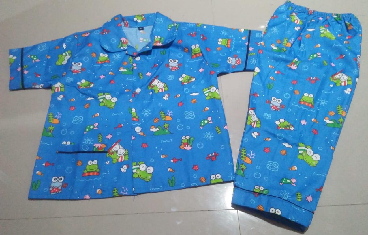 Baju Tidur Anak Umur 4-5 Tahun Gambar Keroppy Biru