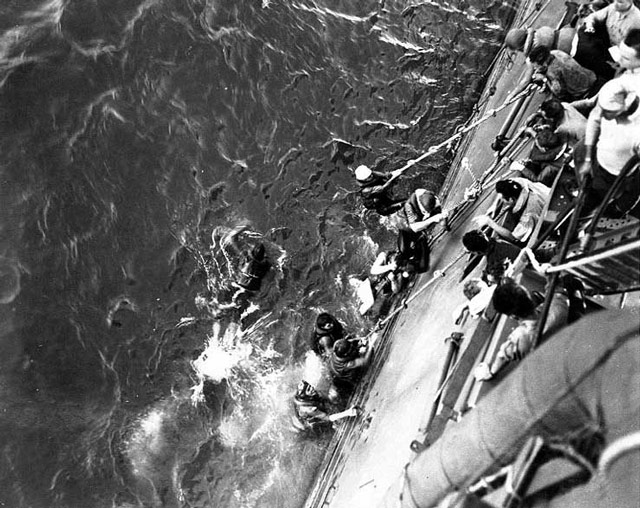 USS Lexington survivors being rescued, 8 May 1942 worldwartwo.filminspector.com