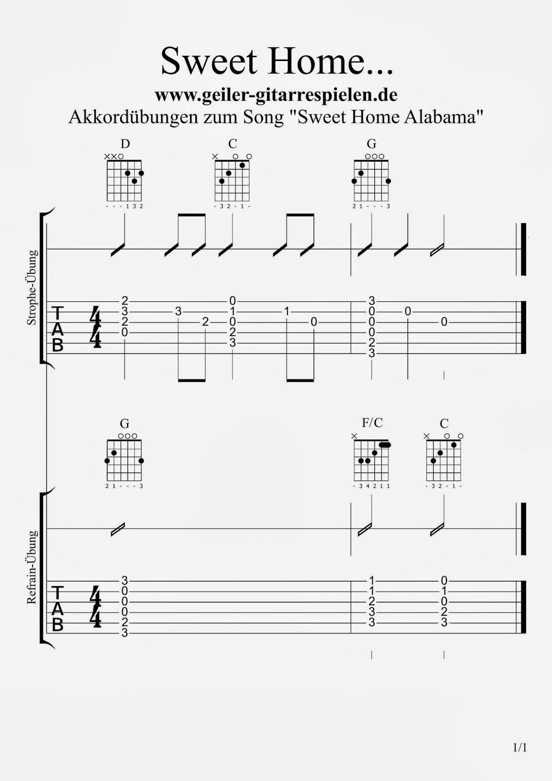 Die Gitarren Seite Sweet Home Alabama – Akkorde