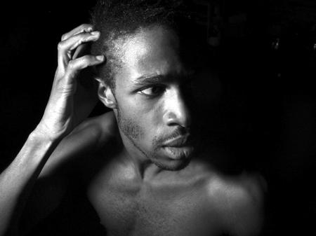 Image of scared black man