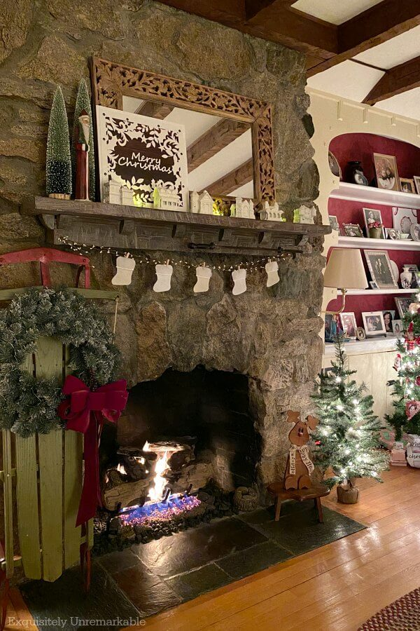 Cottage Style Christmas Living Room