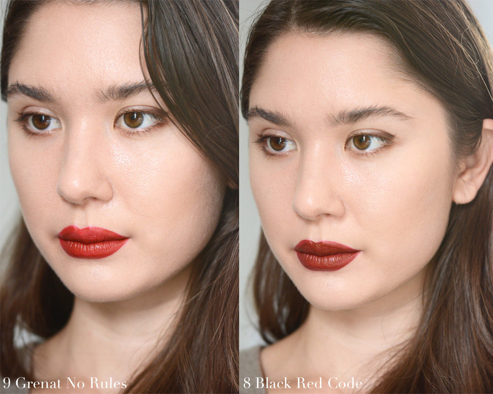 ysl rouge tatouage matte lip stain swatches review photos lip swatches all colors carmine statement red tribe grenat no rules black red code