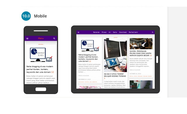tampilan mobile pada layar hape dan tablet