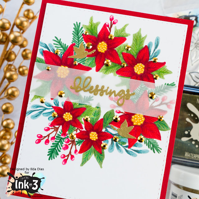 Poinsettia Blessings Wreath CarPoinsettia Blessings Wreath Card |SNEAK Preview for Ink On 3's Holiday Blessings Release by ilovedoingallthingscrafty.comd |SNEAK Preview for Ink On 3's Holiday Blessings Release