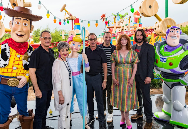 Toy Story 4 cast at Toy Story Land, Tom Hanks, Annie Potts, Tim Allen, Tony Hale, Christina Hendricks, and Keanu Reeves