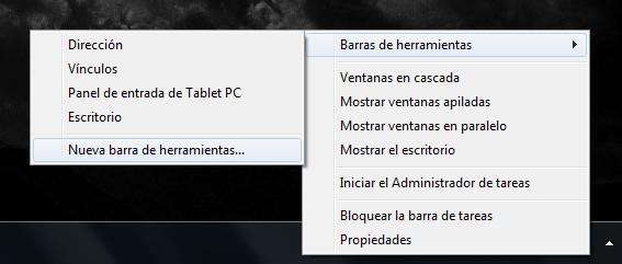 Clic derecho en la Barra de tareas y agregamos una Nueva barra de herramientas - El Blog de HiiARA