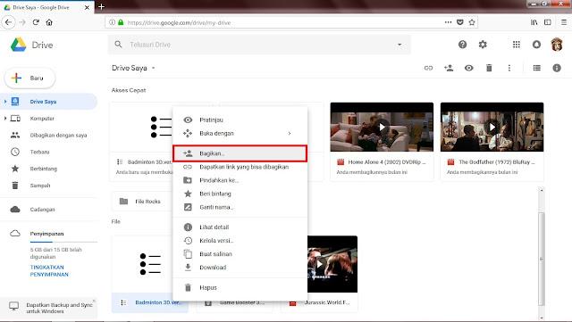 Klik kanan pada file yang sudah terunggah, kemudian klik Opsi Bagikan.