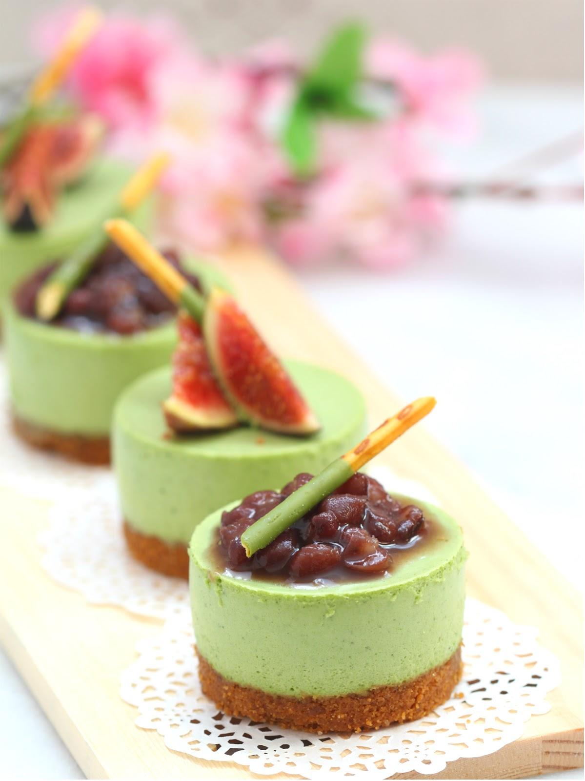 my bare cupboard: No-bake mini matcha cheesecakes