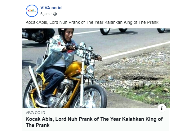Kocak Abis, Lord Nuh Prank of The Year Kalahkan King of The Prank