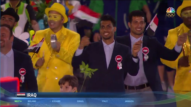 Iraq only men all-male athletes delegation Rio 2016 Olympics Opening Ceremony