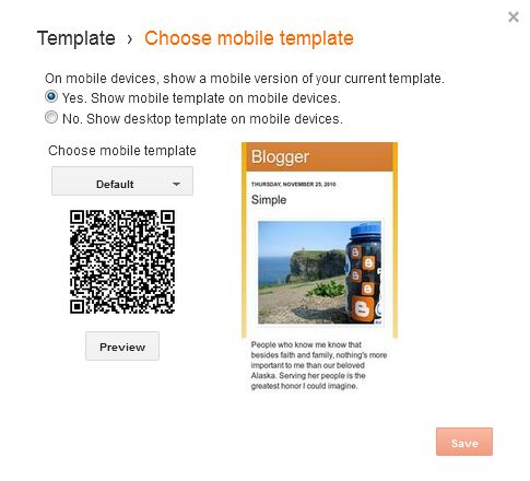 Mobile Template Option in Blogger
