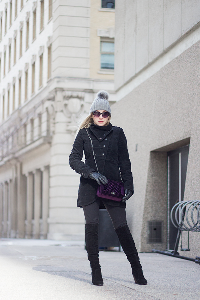 Winter fashion inspiration // Black military coat with black over the knee boots & a grey toque.