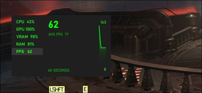 رسم بياني FPS لنظام التشغيل Windows 10 يطفو فوق لعبة كمبيوتر.