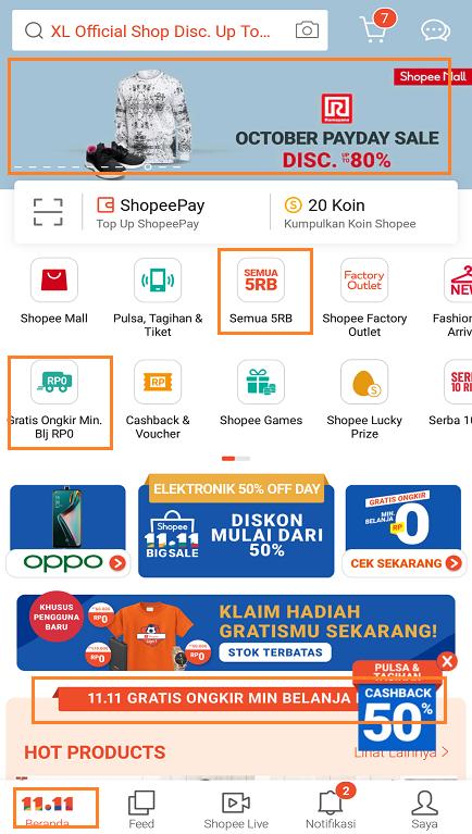 Promo Promo Terbaru di Halaman Beranda Aplikasi Shopee.