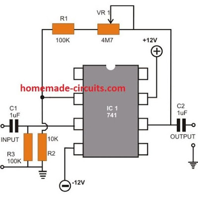Inverting AC Amplifier using opamp