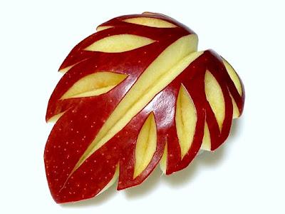 leaf carving apple fruit art