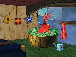 Polosan meme tuan krab 20 - tuan krab mandi uang di bak mandi kayu.