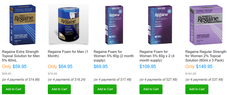 regaine-products-list