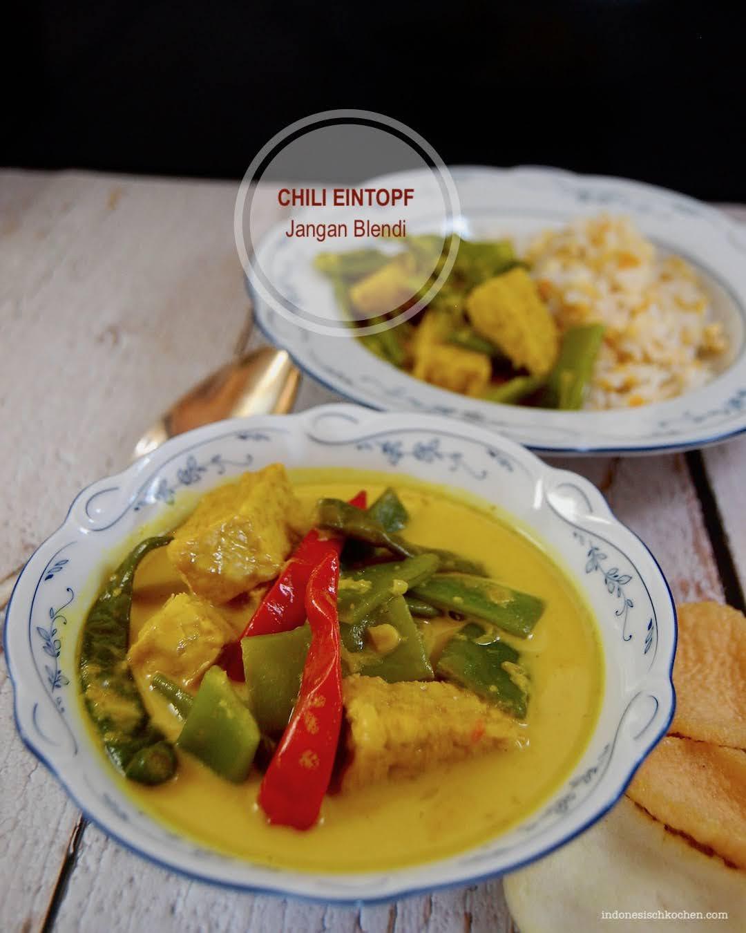 Rezept Veganer Chili Eintopf mit Tempeh und Stangenbohnen indonesisch kochen