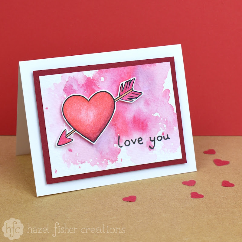 Quick and Easy Watercolour Valentine Card by hazel fisher creations
