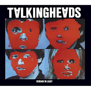 Remain in Light album cover 2 x 2 square of band photos with faces pixelated in red