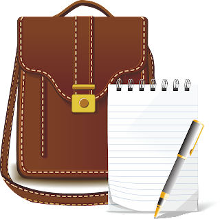 image of notebook, pen and bag