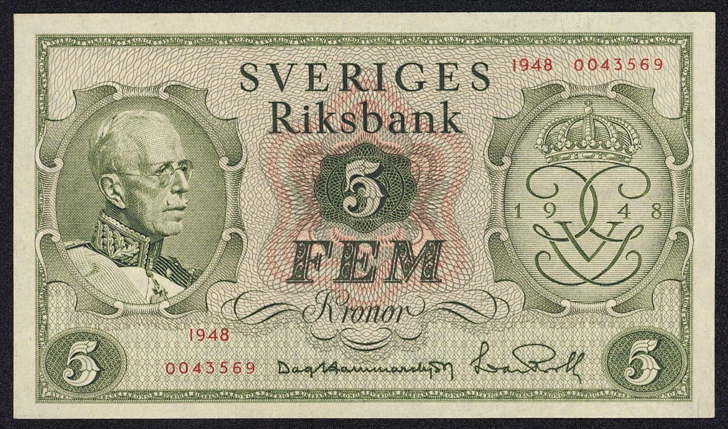 Sweden 5 Kronor jubilee banknote 1948 King Gustav V 90th birthday