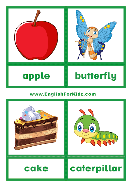 The Very Hungry Caterpillar printable flashcards for elementary school and kindergarten