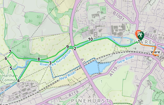 Map for Walk 95: Ware West Loop Created on Map Hub by Hertfordshire Walker Elements © Thunderforest © OpenStreetMap contributors Note: There is a larger, more detailed map embedded at the end of these directions