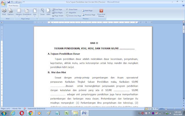 Dokumen tujuan pendidikan dan visi-misi sekolah/madrasah