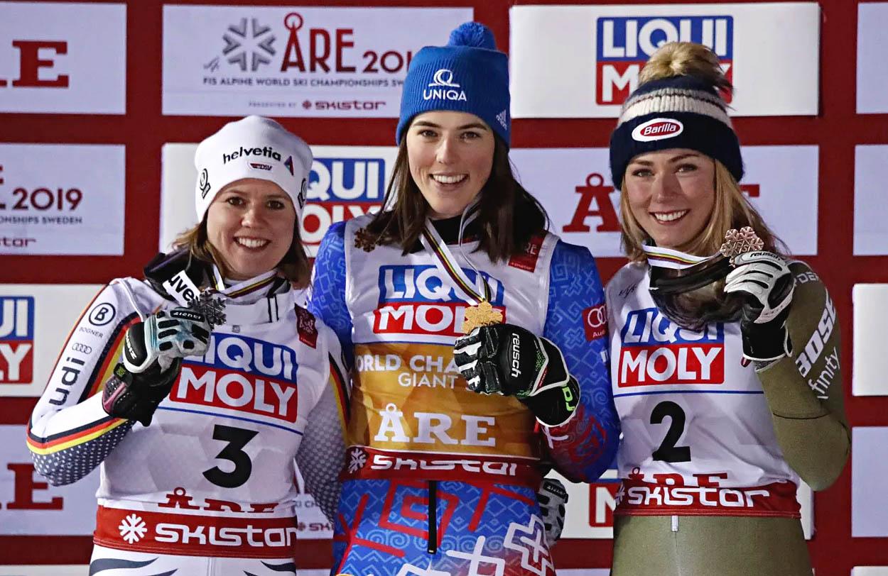 Petra Vlhová, Viktória Rebensburgová, Mikaela Shiffrinová Åre 2019