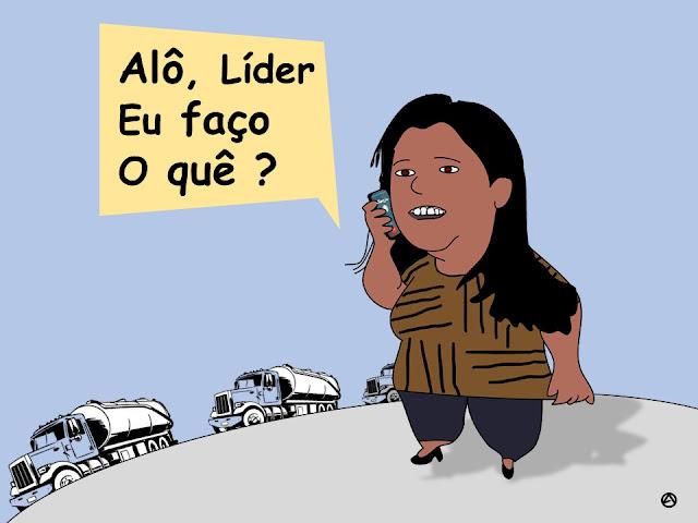 Charge: Joelma Campos ao Telefone perguntando ao líder o que fazer