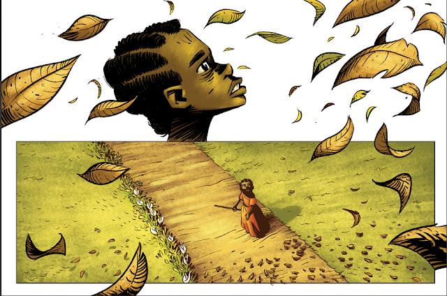 Página da HQ dividida em duas cenas. Mostra uma menina mulata varrendo o chão que esta cheia de folhas.