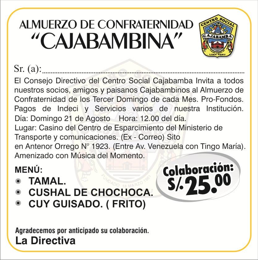 Almuerzo De Confraternidad Cajabambina En Lima 21 Agosto