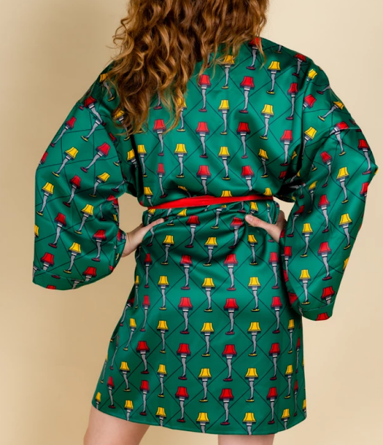 An image of a girl wearing a kimono with a leg lamp pattern on it, inspired by the holiday movie A Christmas Story