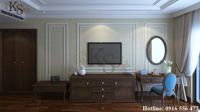Hình ảnh: Ghế trang điểm kiểu dáng cổ điển càng làm tăng thêm chất Pháp trong thiết kế nội thất phòng ngủ khách sạn 9 tầng.