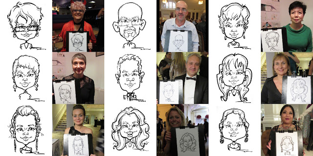 Drawings from the latest live caricature events London