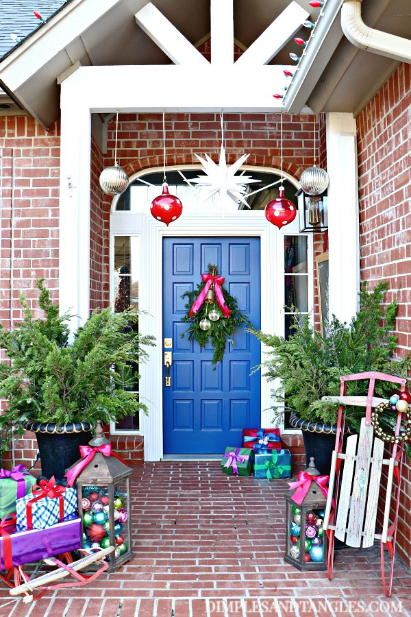 jewel tones, christmas decor, christmas porch, dignity blue front door