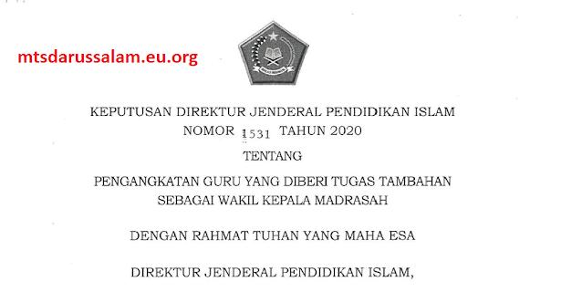 Juknis Pengangkatan Guru Sebagai Wakil Kepala Madrasah Tahun 2020