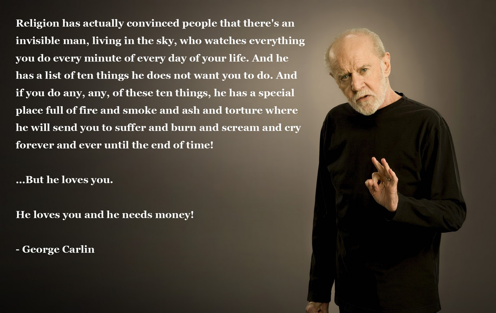 George Carlin Quote On The Ten Commandments: Left Hemispheres: Monday Morning Quotes: George Carlin