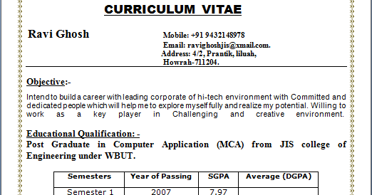 resume sample of post graduate in computer application mca fresher fresher resume format for mca