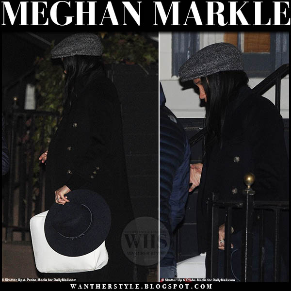 Meghan Markle Duchess of Sussex wears dark wool coat from Victoria Beckham in New York. Winter outerwear february 2019